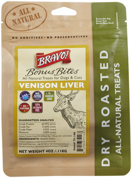Bravo! Bonus Bites Dry Roasted Treats - Venison Liver - 4 oz