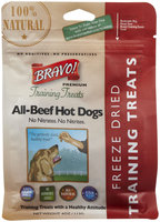 Bravo! Premium Freeze-Dried Training Treats for Dogs - Beef Hot Dog - 4 oz