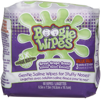Little Busy Bodies Boogie Wipes Saline Nose Wipes 3x30ct Grape Scented