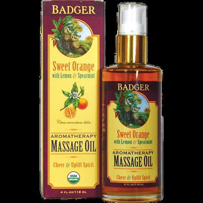 Badger Balm Organic Massage Oil - Sweet Orange