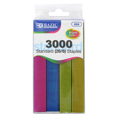 Bazic Standard 26/6 Assorted Color Desktop Staples
