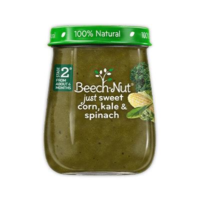Beech-Nut just sweet corn, kale & spinach jar