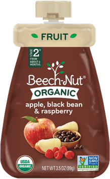 Beech-Nut organic apple, black bean & raspberry pouch