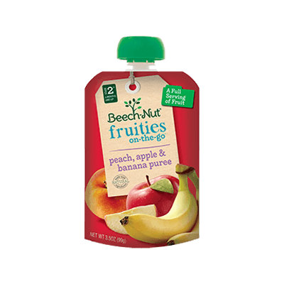 Beech-Nut peach, apple & banana fruities on-the-go pouch
