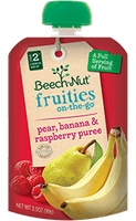 Beech-Nut pear, banana & raspberry fruities on-the-go pouch