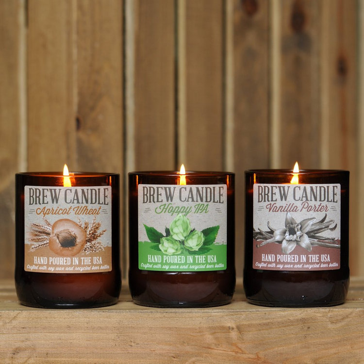 Brew Candle 3 Pack: Apricot Wheat, Hoppy IPA, Vanilla Porter
