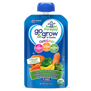 Go & Grow By Similac® Butternut Squash, Pumpkin, Banana, Carrot, Spinach, Broccoli Puree Toddler Food Pouches With OptiGRO™