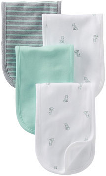 Carter's Burp Cloth - Ivory Fox Grey Turq - 4 ct