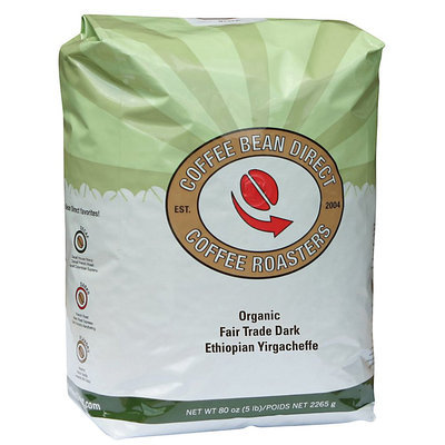 Coffee Bean Direct Dark Ethiopian Yirgacheffe, Organic Whole Bean