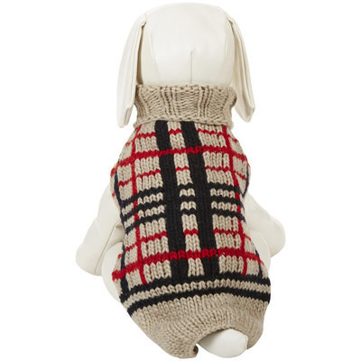 Chilly Dog Tan Plaid Dog Sweater, Medium