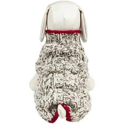 Chilly Dog Oatmeal Cable Knit Dog Sweater M, WHITE