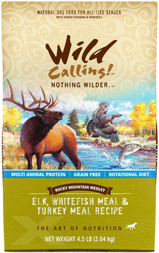 Wild Calling Rocky Mountain Medley Elk White Fish & Turkey Dry Dog Food 4.5 lb.