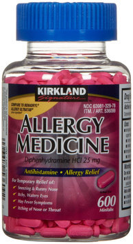 Kirkland Signature Allergy Medicine, Antihistamine Allergy Relief, 600 Minitabs