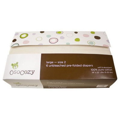 OsoCozy Prefold Cloth Diapers - Unbleached L (26-36 lbs) - 6 ct.