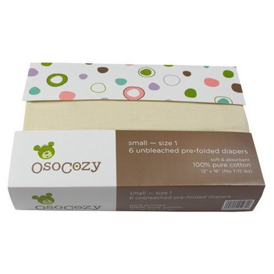 OsoCozy Prefold Cloth Diapers - Unbleached S (8-15 lbs) - 6 ct.