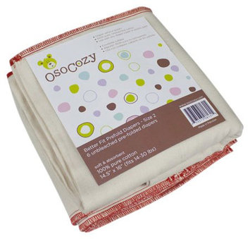 OsoCozy Better Fit Prefold Cloth Diapers M (13-28 lbs) - 6 ct.
