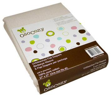 OsoCozy Flat Cloth Diapers - Unbleached One Size - 6 ct.