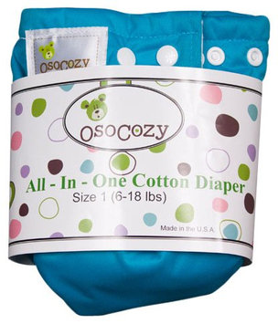 OsoCozy Unbleached All In One Cloth Diaper - Blue Size 1