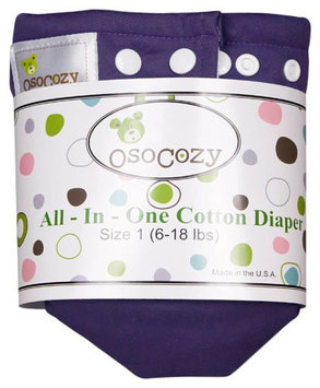 OsoCozy Unbleached All In One Cloth Diaper - Purple Size 1