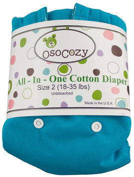 OsoCozy Unbleached All In One Cloth Diaper - Blue Size 2