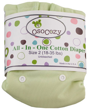 OsoCozy Unbleached All In One Cloth Diaper - Green Size 2