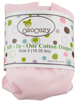 OsoCozy Unbleached All In One Cloth Diaper - Pink Size 2