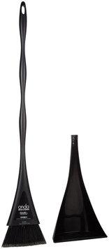 Casabella 09974 Onda Broom and Dustpan Set, Black