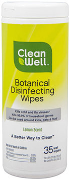 CleanWell - Botanical Disinfecting Wipes Lemon Scent - 35 Wipes