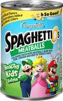 Campbell's SpaghettiOs Meatballs Super Mario Fun Shapes Pasta with Pork Chicken and Beef in Tomato Sauce