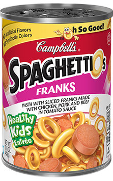 Campbell's SpaghettiOs Pasta with Sliced Franks Chicken and Pork in Tomato Sauce