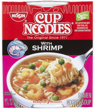 Nissin Cup Noodles Ramen, Shrimp, 2.25 oz, 6 ct