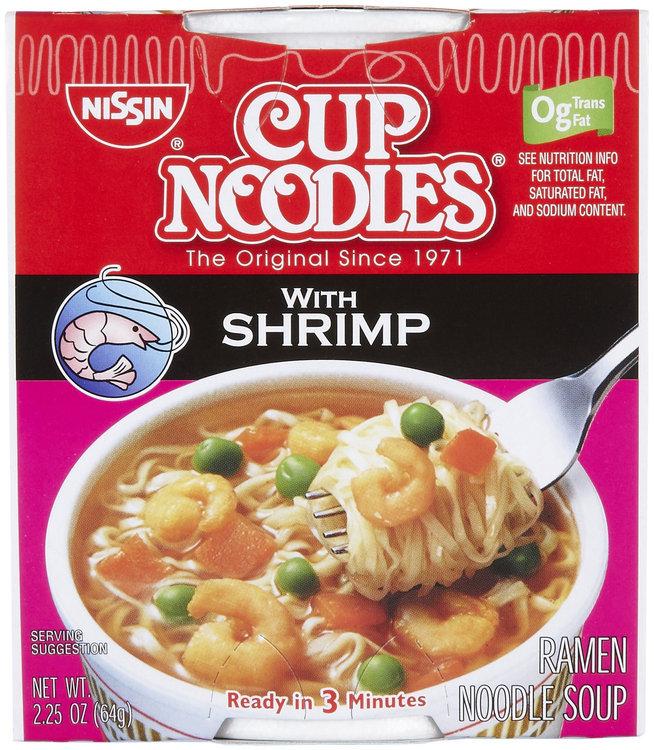 Nissin Cup Noodles Ramen, Shrimp, 2.25 oz, 6 ct