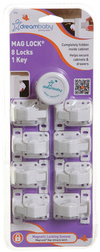 Dreambaby Mag Lock - 8 Locks and 1 Key- White