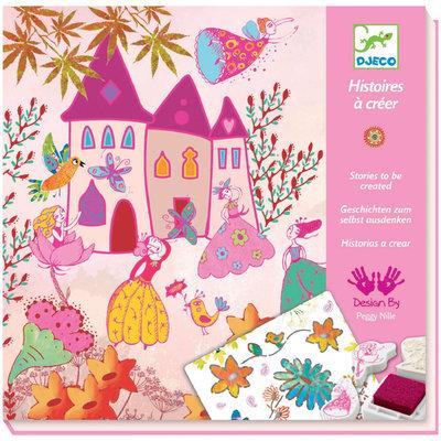 Djeco Princesses Stamp Patterns And Stencils Kit