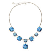 Monet Silver-Tone Blue Glass Stone Y Necklace