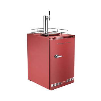 Nostalgia Electrics Compact Refrigerator Retro Series 6.1 cu. ft. Kegorator Commercial Single Tap Beer Keg Fridge in Red KRS6100RETRORED