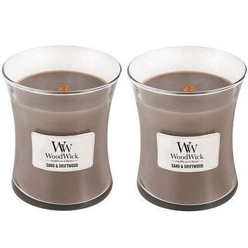 WoodWick Set of 2 Medium Sand & Driftwood Candles