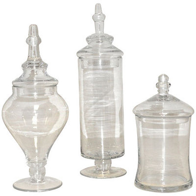 San Miguel Set of 3 Apothecary Jars Clear