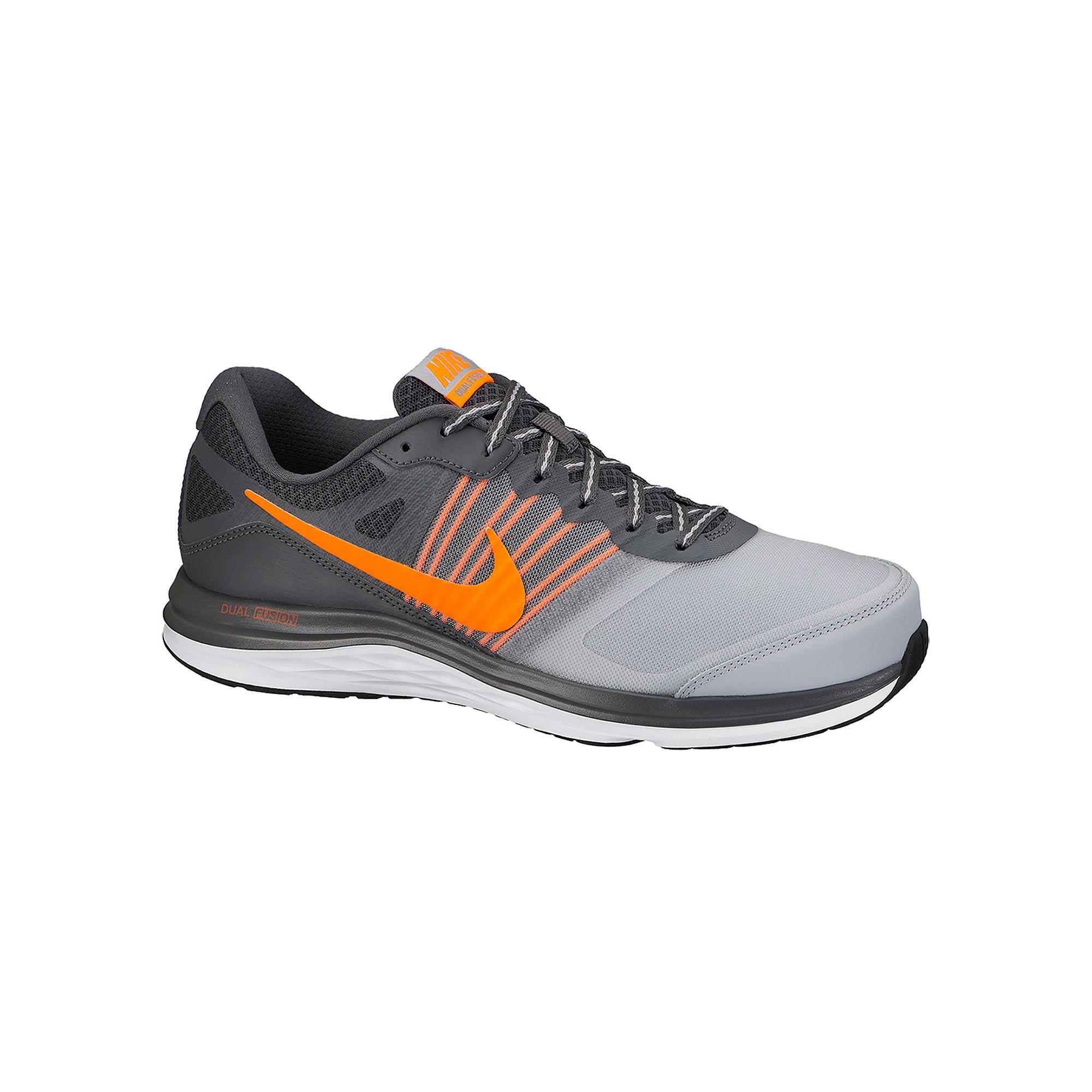 Nike Dual Fusion X Grey-Orange Mens Running Shoes-10.5,GREY/ORANGE