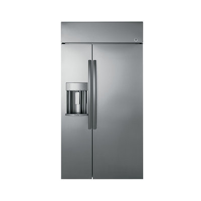 GE Profile PSB48YSKSS Side-by-Side Built-in Refrigerator with 24.3 cu. ft. Capacity, 4 Adjustable Glass Shelves, Gallon Door Bin, Deli Drawer, Produce Drawer, Climate Control Drawer and Ice/Water Dispenser: 48