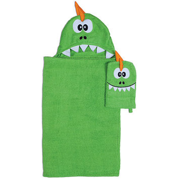 Asstd National Brand Dinosaur Hooded Towel and Wash Mitt Set