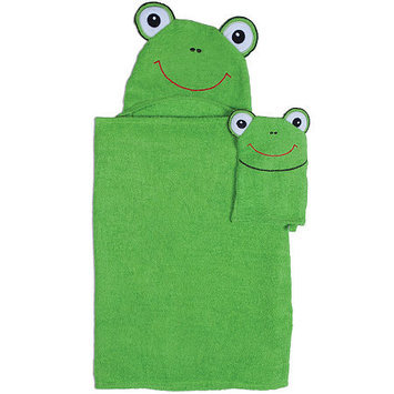 Asstd National Brand Frog Hooded Towel and Wash Mitt Set