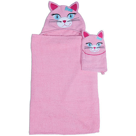 Asstd National Brand Kitty Hooded Towel and Wash Mitt Set