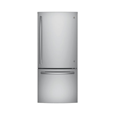 GE GDE21ESKSS 30 Inch Bottom Mount Refrigerator with 20.9 cu. ft. Capacity, 2 Full-Width Adjustable Glass Shelves, Gallon Storage, Sliding Snack Drawer, 2 Humidity Controlled Crispers, Factory Installed Ice Maker and ENERGY STAR Qualified: Stainless Steel