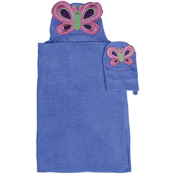 Asstd National Brand Butterfly Hooded Towel and Wash Mitt Set