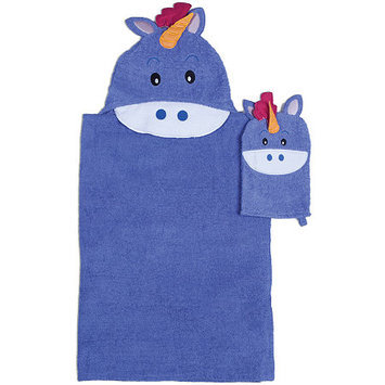 Asstd National Brand Unicorn Hooded Towel and Wash Mitt Set