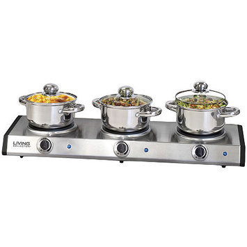 Nostalgia Electrics Living Collection Stainless Steel Triple Burner Kettle Buffet