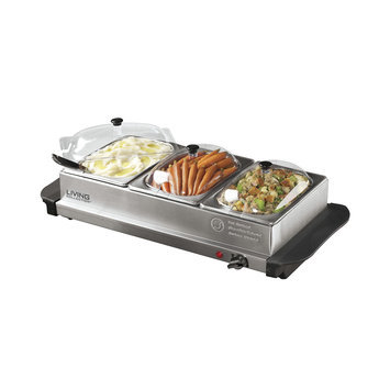 Nostalgia Electrics Living Collection 3-Station Stainless Steel Buffet Server & Warming Tray