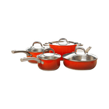 Simplemente 8-pc. Stainless Steel Cookware Set (Orange)