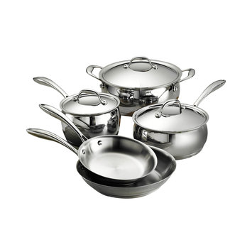 Tramontina Usa Inc. Tramontina Gourmet Domus 18/10 Stainless Steel Tri-Ply Base - Induction-Ready 8 Pc Cookware Set